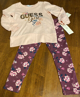 NWT GUESS Girls Pink Floral Top & Leggings Set Outfit Size 4