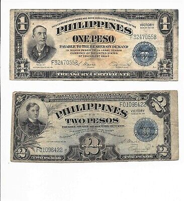 Lot of 2 Philippines Treasury Certificate Note One Two Pesos WWII Mabini Victory