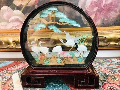Antique Asian Chinese Carved Cork & Paper Artwork Diorama  Wooden Stand Cranes