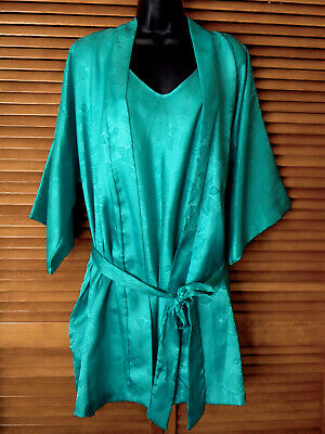 """California Dynasty Jade/Turquoise Peignoir Robe/Gown, Bust About 34"""", Sz M"""