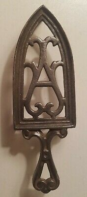 "Vintage Grey Cast Iron Trivet,  Scroll Design with ""A"", 7"" x 2 1/4"" #1210"