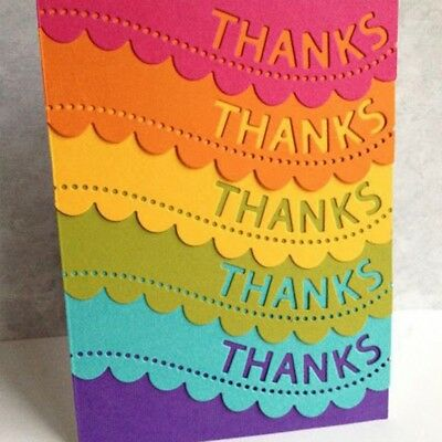 Thanks Wavy Lace Metal Cutting Dies Stencil Scrapbooking Card Embossing ` @k