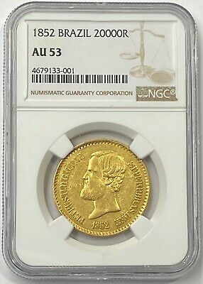 1852 Brazil King Pedro II Gold 20,000 Reis NGC AU53 Contains Over 1/2oz Of Gold