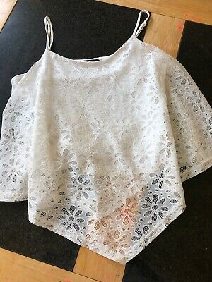 Girls Cream Lace Frill Floral Daisy Cami Cropped Top Summer Age 14 Years