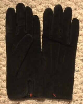 New! ISOTONER ARIS Suede Leather Ladies Black Womens M Lined Gloves Driving Vtg!