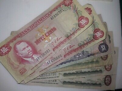 7 1960 Bank Of Jamaica Fifty Cents One Two Dollar Banknotes pre-owned circulated