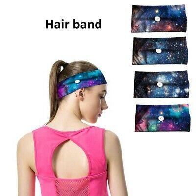 Starry Button Headband for Women Sports Workout Turban Head Wrap Hair Band Y @k