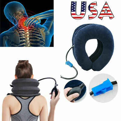 Air Inflatable Pillow Cervical Neck Head Pain Relief Traction Support Brace USA