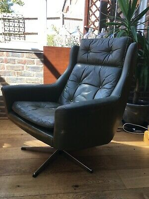 Vintage retro green leather swivel chair - mid C20th modernist (refurb project)
