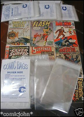PACK OF 100 x RESEALABLE SILVER AGE SIZE POLYPROPYLENE COMIC BAGS.  SIZE C