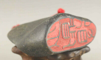 Chinese old natural hetian jade hand-carved statue seal pendant
