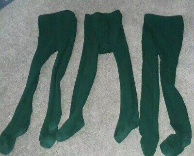 3 x pairs of Girls School Bottle Green Tights Age 3-4 years