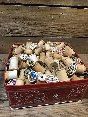 Antique Lot Wood Thread Spools Vintage Sewing Empty Arts Crafts Salvage Repurpos