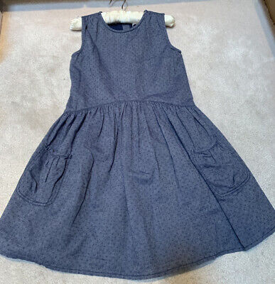 Marks & Spencer M&S Indigo Girls Pretty Blue Dress Occasion Age 8-9 *Vgc*