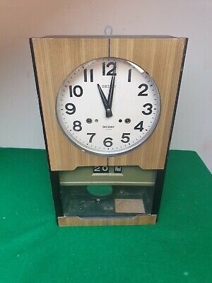 Vintage Seiko Wind Up Chiming Wall Clock With 30 Day Movement, Day And Date.