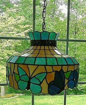 Stained Glass Chandelier Lamp Flowers & Butterflies Light Fixture with Hardware