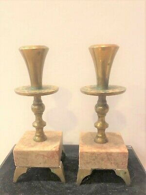 """Vintage Brass & Stone Candle Holders/Candlesticks - Made in Israel 5 7/8"""" H"""