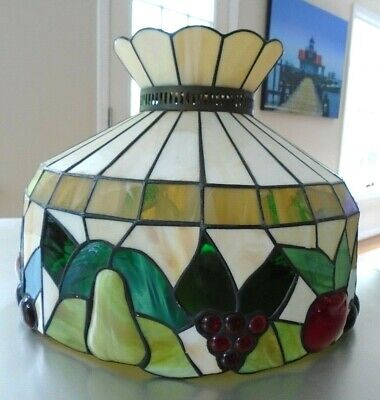 Vintage Stained Glass Fruit Motif Chandelier Lamp Light Fixture & Hardware