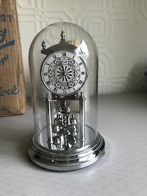 Vintage Kundo Silver Glass Dome 400 Day Clock MISSING PART/ NOT WORKING SPARES