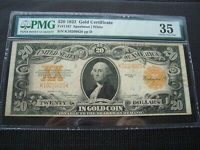 1922 $20 Gold Note  Fr#1187 Pmg 35