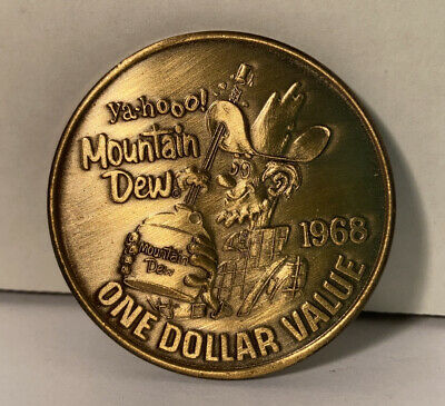 Vintage 1968 Mountain Dew Hillbilly Yahoo! Dollar Coin Token Soda Advertising