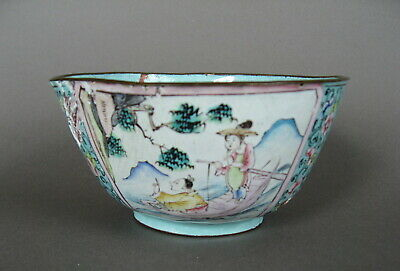 A Chinese early 19th C. Canton Enamel bowl, figures and flowers.