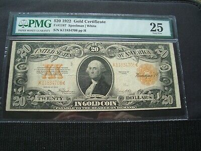 1922 $20 Gold Note  Fr#1187 Pmg 25