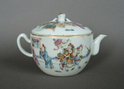 A Chinese famille rose porcelain teapot, 19th C. Tongzhi mark. Figures, horse.