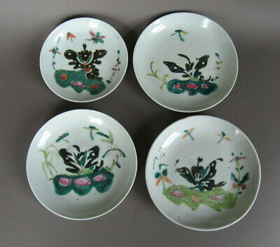 4 Chinese early Republic period fencai dishes , butterflies. Signed.