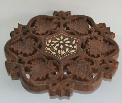 Vintage Hand Carved Wooden Indian Trivet Stand Folk Art 15cm Diameter