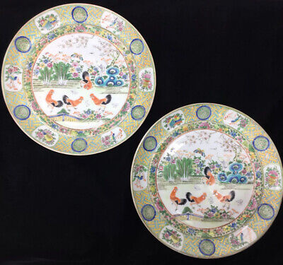 Pair 19th C Chinese Porcelain Gilt Famille Rose Cockerel Rooster Chicken Plates