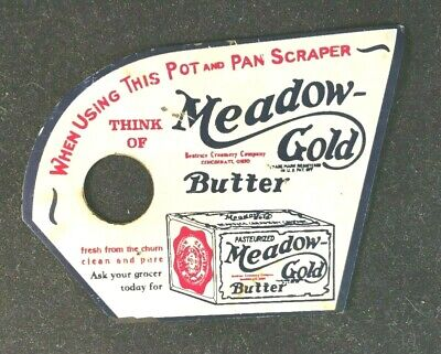Vintage MEADOW GOLD BUTTER POT & PAN SCRAPER Rare Old Advertising Sign