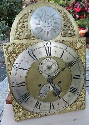 Antique Longcase Clock Brass Dial and Movement.12 by 17 inches. 8 Day. c1760