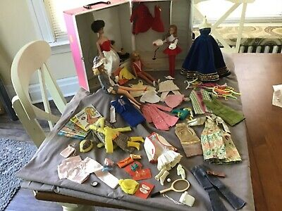 Vintage Barbie Lot Dolls Case Clothing Accessories Most Black And White Tagged
