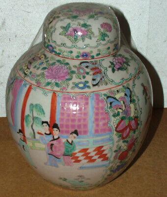 Large Antique /Vintage Chinese Hand Painted Famile Rose Ginger Jar Signed