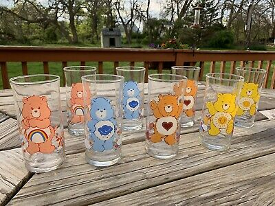 Vintage CARE BEAR DRINKING GLASSES Pizza Hut Limited Edition 1983  SET of 8