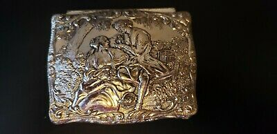 Vtg Footed Metal Silver Trinket Box With Red Velvet Lining