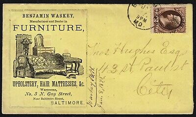 VINTAGE 1870s AD COVER FOR FURNITURE, UPHOLSTERY, HAIR MATTRESSES, ETC. W/ #157