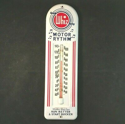 WHIZ MOTOR RHYTHM THERMOMETER RUN BETTER START QUICKER Rare Old Advertising Sign