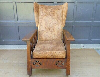Antique Arts & Crafts Mission Oak Wingback Craftsman Recliner Morris Chair