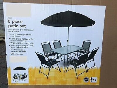 Table & Chairs Set 8PCS Outdoor Garden Patio Black Furniture Glass Table Parasol