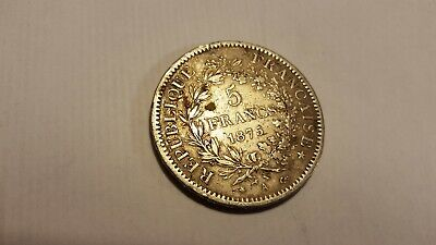 France Silver 5 Francs Coin 1875