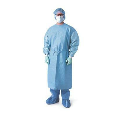 10 Isolation Gowns Blue Non Woven 25 Gsm Knit Cuff Polypropylene