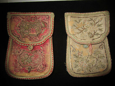 2 Rare Early 1800's Antique Embroidered Silk Loop Belt Bag Carrying Pouch Purses