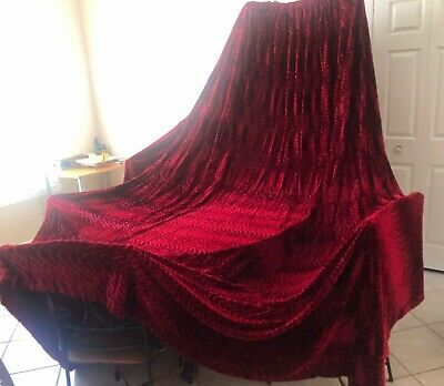"""PAIR ANTIQUE RED VELVET CURTAINS 102 """" x 144"""". Excellent condition, never used."""