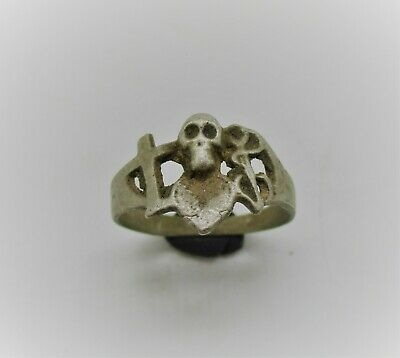 Scarce Ancient Roman Ar Silver Seal Ring With Momento Mori Skull Bezel