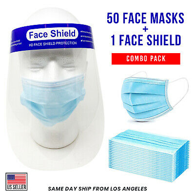 Combo Pack 50 Disposable Face Mask and 1 Face Shield Blue 3-Ply Mouth Nose Cover