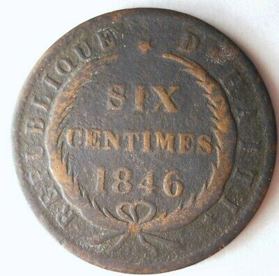 1846 HAITI 6 CENTIMES - RARE LOW MINTAGE Coin - Lot #M21