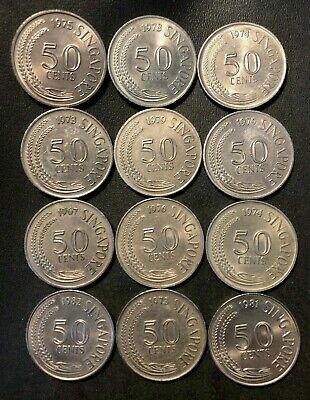 Old Singapore Coin Lot - 1967-1981 - 50 CENTS - 12 HIGH GRADE COINS - Lot #M21