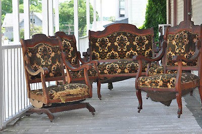 Antique Settee set with Rocker and 3 chairs - 5 piece set